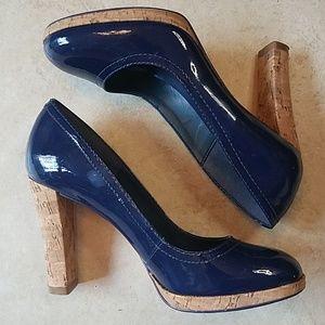 Aldo Navy Patent Leather & Cork Heels 💙